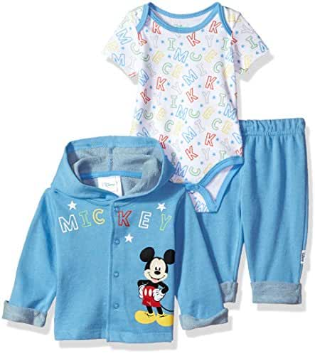 Disney Baby Boys' Mickey Mouse 3 Piece Hoodie, Bodysuit OR T-Shirt, Pant Set
