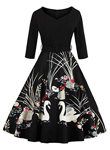 Ezcosplay Women Vintage Spring Floral Print V neck Half Sleeve Swing Party Dress