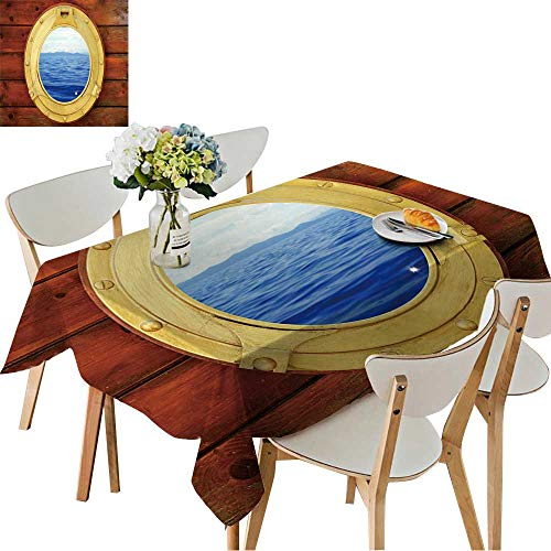 Square Porthole Mirror - UHOO2018 Printed Fabric Tablecloth Square/Rectangle Boat Closed Porthole with Seascape Vacation Ocean View Wedding Party Restaurant,50 x102inch