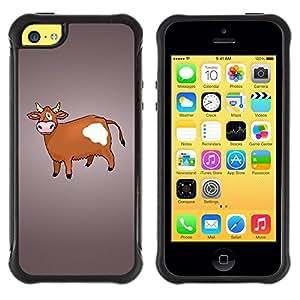 "Pulsar iFace Series Tpu silicona Carcasa Funda Case para Apple iPhone 5C , Vaca de Brown Agricultura Animal Derechos Dibujo"""
