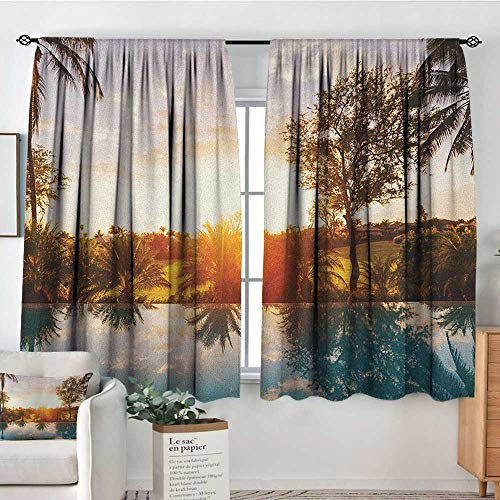 (Theresa Dewey Customized Curtains Hawaiian,Home with Swimming Pool at Sunset Tropics Palms Private Villa Resort Scenic View, Orange Teal,Wide Blackout Curtains, Keep Warm Draperies, Set of 2 63