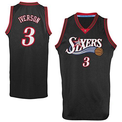 Men's Allen Iverson #3 Basketball Jersey Mens Basketball Jersey - Black