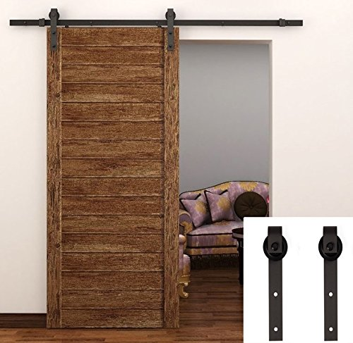 TCBunny 6.6 Feet Sliding Barn Door Hardware Set Superior Quality Track Kit Antique Style (Black)