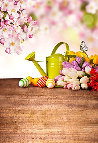 (Laeacco Vinyl Backdrop 5x7FT Photography Background Peach Blossom Flowers Tulip Green Teapot Color Eggs Easter Festival Party Scene Wood Floor Background 1.5(W) x2.2(H) m Photo Studio Props)