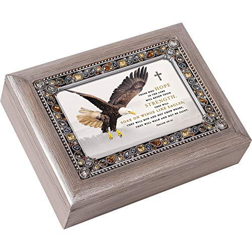 Cottage Garden Soar On Wings Like Eagles Grey Brushed Pewter Jeweled Music Box Plays Eagle's Wings