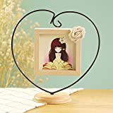 EDTara Photo frame,Novel Opening Decorative Iron Heart-shape Wooden Picture, Thickening Pine Square Table