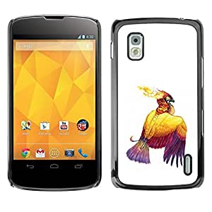 TopCaseStore / la caja del caucho duro de la cubierta de protección de la piel - Bird Fire Eagle Art Drawing Ink Tattoo Wings - LG Google Nexus 4 E960