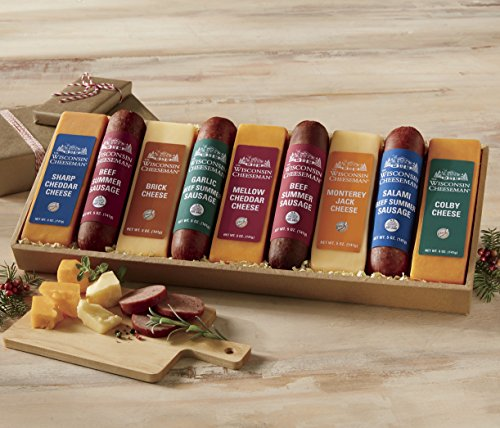 9-Piece Heartland Cheese & Sausage Gift Box from Wisconsin Cheeseman