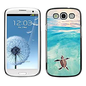 Planetar® ( Tortoise Turtle Baby Watercolor Sea ) SAMSUNG Galaxy S3 III / i9300 / i747 Fundas Cover Cubre Hard Case Cover