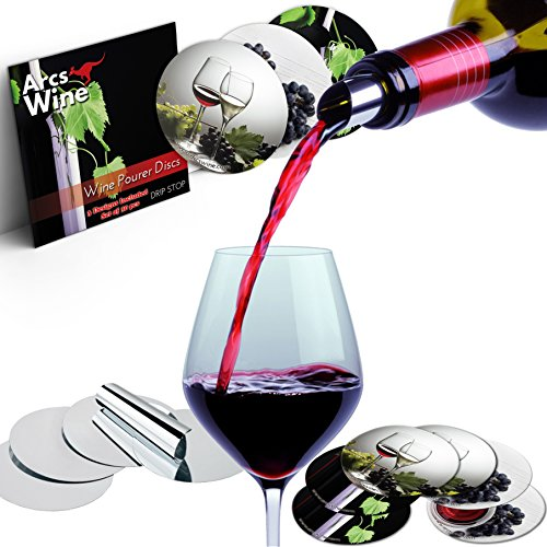 Wine Pourer Disc Set of 30 with 3 Designs Best Drip Stop Pour Spouts Thin Flexible and Reusable Drop Stop Disks by Arcs Wine