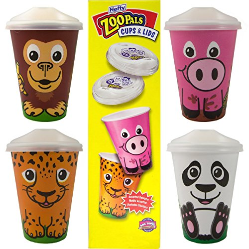 56ct Hefty Zoo Pals Animal Cups With Sip Lids Safari Party Disposable No Spill
