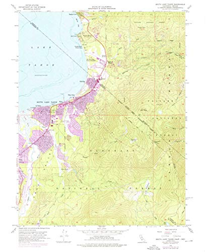 YellowMaps South Lake Tahoe CA topo map, 1:24000 Scale, 7.5 X 7.5 Minute, Historical, 1955, Updated 1976, 26.9 x 22 in - Tyvek