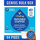 VitaCup Genius Coffee Pods 44ct with MCT, Turmeric, Vitamins, Cinnamon, Keto|Paleo|Whole30 Friendly, B12, B9, B6, B5, B1, D3, Compatible with K-Cup Brewers Including Keurig 2.0, Top Rated Cups