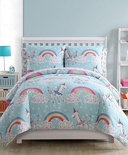 Girls Pastel Rainbows and Unicorns Magical Pony Horse 5pc Twin Size Comforter, Pillow Sham & Sheet Set