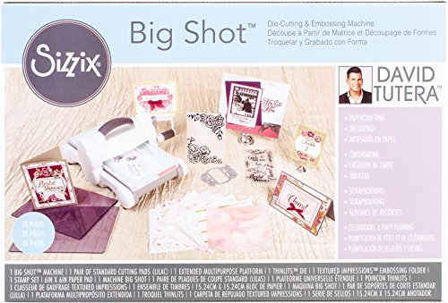 Sizzix Big Shot Starter Kit - Inspired by David Tutera - Machine, Cutting Pads, Multipurpose Platform, Paper, Stamps and Dies - 26 Piece Set by Sizzix