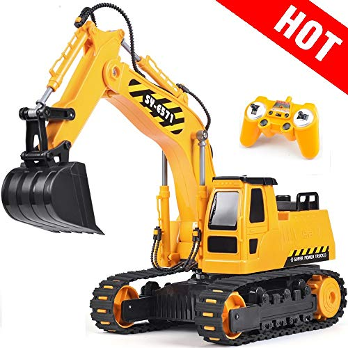 - DOUBLE E Remote Control Excavator Toy Truck 1/26 with Rechargeable Battery Simulated Sounds 2.4GHz Construction Vehicles Truck