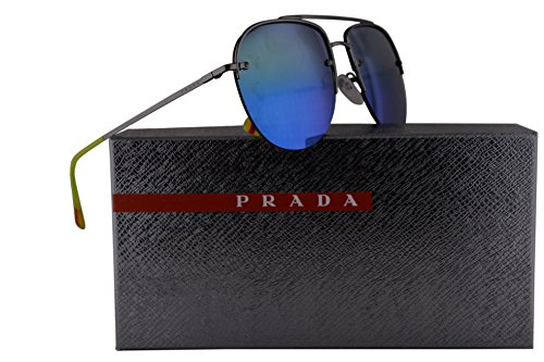 Prada PS53SS Sunglasses Gunmetal w/Blue Green Mirror Lens 59mm 5AV6U2 SPS53S PS 53SS SPS - Sun Gomez Selena Glasses
