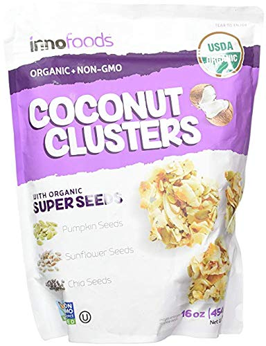 - InnoFoods Coconut Clusters with Organic Super Seeds Pumpkin; Sunflower & Chia Seeds 18 ounce (2 Pack)