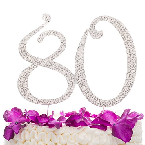 Ella Celebration 80 Cake Topper for 80th Birthday Anniversary Party Supplies & Decoration Ideas (Silver)