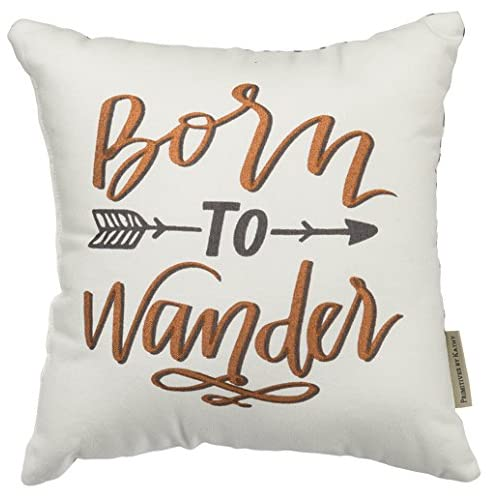 Primitives by Kathy Decorative Born to Wander Throw Pillow 12-Inch Square