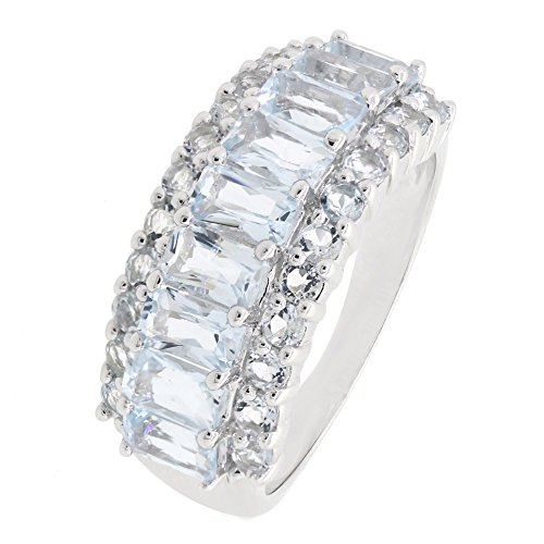 (BL Jewelry Sterling Silver Emerald Cut Genuine Natural Aquamarine Eternity Band Dome Ring (3 1/8 CT.T.W))