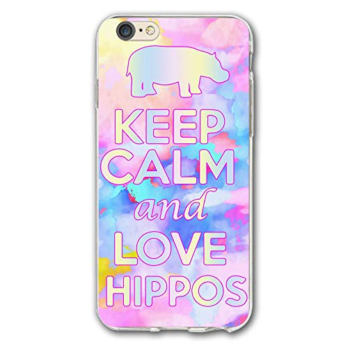 SRuhqu Keep Calm And Love Hippos Shockproof Anti-Scratch Slim Fit Hybrid TPU PC Frame Soft Back Cover Protective IPhone 6 Plus Case ()