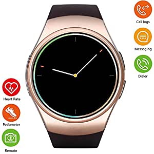 Bluetooth Smart Watch 1.3inch IPS Round Touch Screen Smartwatch with SIM Card,Fitness Tracker with Heart Rater Monitor Sleep Monitor Pedometer for Android Phone and IOS (Gold)