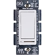 GE Dimmer with Slide for Incandescent, CFL and LED Dimmable Bulbs, Rocker On/Off, White, 10464
