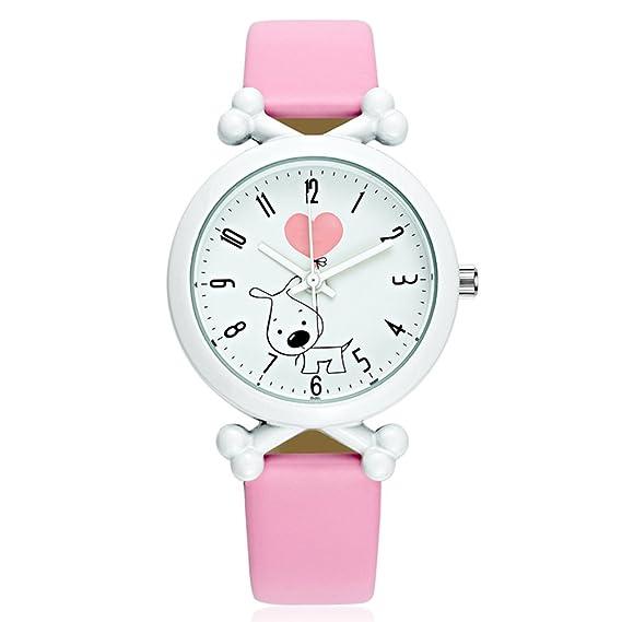 Reloj de pulsera para niñas, para aprender a decir la hora con un bonito dibujo de perro, correa de piel, cuarzo, sumergible, color rosa: Amazon.es: Relojes
