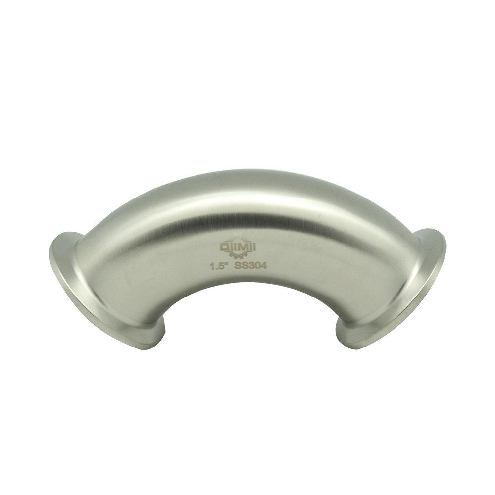 QiiMii Stainless Clamp Elbow Sanitary SS304 3A 90 Degree Tri Clamp Pipe Ferrule (1.5'' Pipe OD)