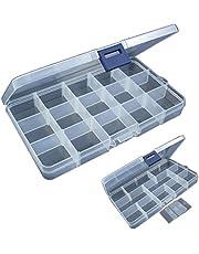 Bilingsley Hard baits Box visbox voor wobbler & knipperlichten, voor Sieraden Kralen Oorbel Container Tool Vishaak Kleine Accessoires 15 Grids, visbak voor kunstaas, aas box voor