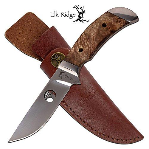 "Elk Ridge ER-568WD Fixed Blade Knife, Burl Wood, 8.5"""