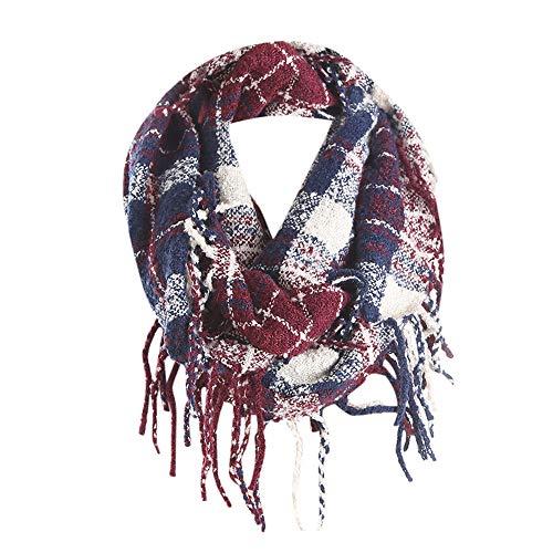 Plaid Scarfs Hot Sale, deatu Clearance Man Woman Teen Girl Winter Warm Tassel LongPlaid Soft Shawl Infinity Scarf (Navy)