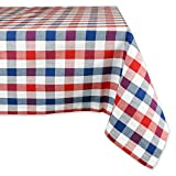 "DII 100% Cotton, Machine Washable, Dinner, Summer & Picnic Tablecloth, 60 x 84"", Red, White and Blue Check, Seats 6 to 8 People"