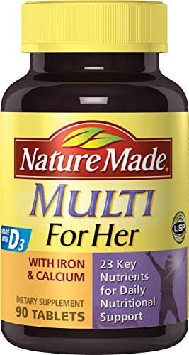 Nature Made Multi For Her Multiple Vitamin and Mineral, 90 Tablets (Pack of 3)