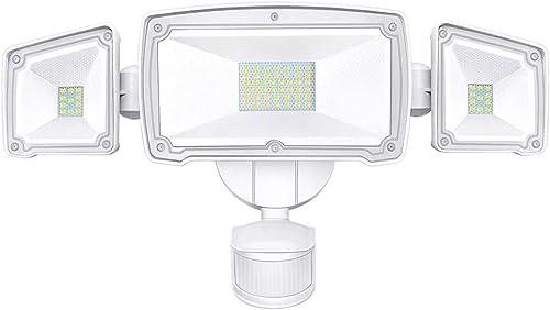 LED Security Lights, SONATA Motion Sensor LED Flood Light with 3 Adjustable Heads, 42W 4000LM 6000K IP65 Waterproof Super Bright Outdoor Light for Garage,Yard,Driveway