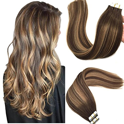 Googoo Tape in Hair Extensions Ombre Chocolate Brown to Caramel Blonde Balayage Human Hair Extensions Tape in Natural Hair Extensions Real Hair 20pcs 50g 16inch