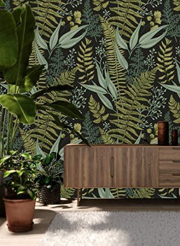 Fleefilo はがせる壁紙 壁紙シール 厚手 植物の 緑 柄 壁 シール リメイクシート DIY (FL0857, 45cm x 10m)