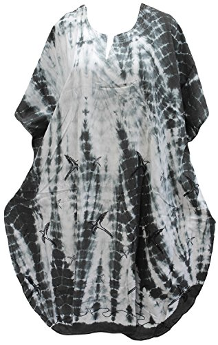 La Leela Frauen Beachwear Badebekleidung Bikini Kleid Kaftan maxi Kimono lässige grau verschleiern