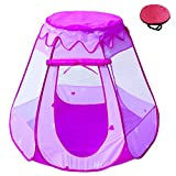 POCO DIVO Fairy Vase Tent Princess Playhouse Pink Playpen Girls Ball Pit Kids Pop-up Hexagon Mesh Play Tent