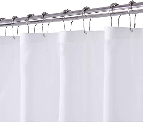 n y home white fabric shower curtain or liner washable 71x72 inch hotel style for bathroom