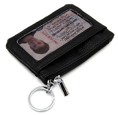 Id Coin Purse - DEEZONE Womens Genuine Leather Coin Purse Pouch Change Wallet with ID Window & Key Ring - Black