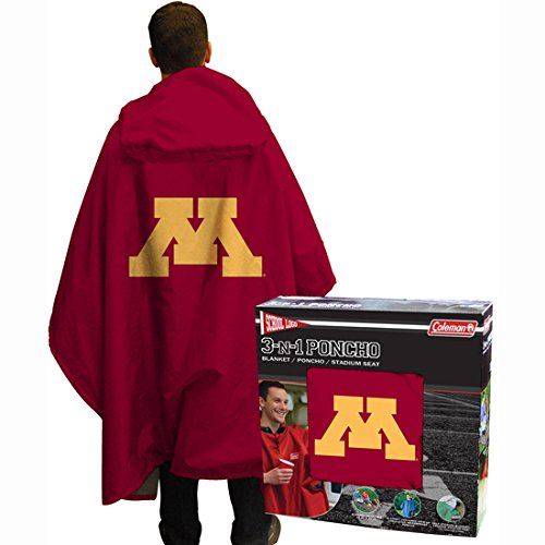 NCAA Minnesota Gophers 3 in 1 Rain Poncho Blanket Stadium Seat (Sports Tailgate Seat)