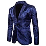 Mens Blazer Floral Dress Suit Jacket Party Tuxedos Slim Fit Luxury One Button Slim Fit Sports Coats and Blazers