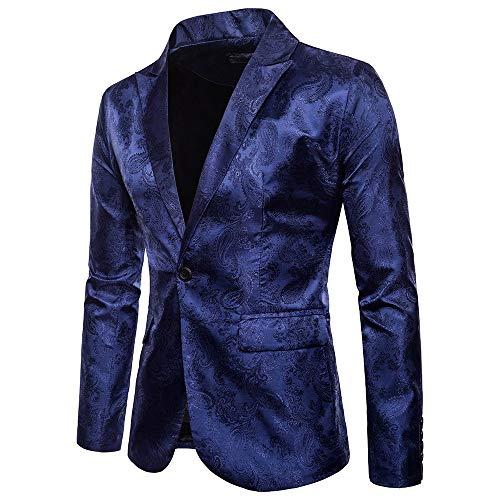 Fxbar Party Jacket,Charm Men's Casual One Button Fit Suit Blazer Coat Jacket Tops Blouse (Navy,XXXL) ()