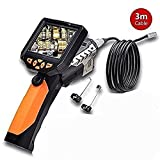 "Blueskysea Longer 3 Meters Dia 8.2mm Tube Snake Camera Cam Endoscope Inspection Borescope Video DVR 3.5"" Monitor 6 Leds Night Vision Waterproof W/ Hook Magnet Mirror"