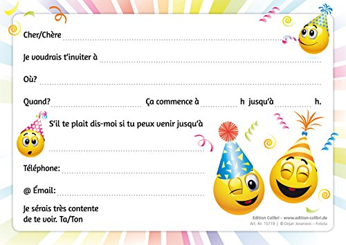 edition colibri invitations smiley en français let s have a party