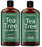 Cleansing Diet Green Tea - Sulfate free anti dandruff Tea-Tree-Oil Shampoo and Conditioner Set – Made with Therapeutic Grade Tea Tree Essential Oil - Deep Cleansing for Dandruff, Dry Scalp & Itchy Hair – Men & Women 2x16oz …