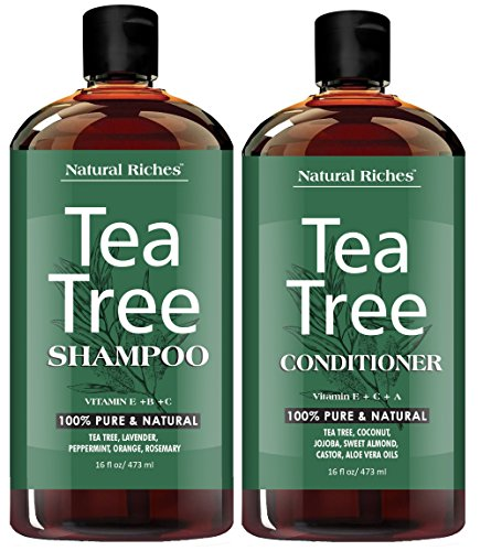 (Tea Tree Oil Shampoo and Conditioner Set by Natural Riches - Sulfate Free, Deep Cleansing for Dandruff, Dry Scalp & Itchy Hair - for Men & Women 2x16oz)