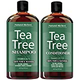 Tea Tree Oil Shampoo and Conditioner Set by Natural Riches - Sulfate Free, Deep Cleansing for Dandruff, Dry Scalp & Itchy Hair - for Men & Women 2x16oz